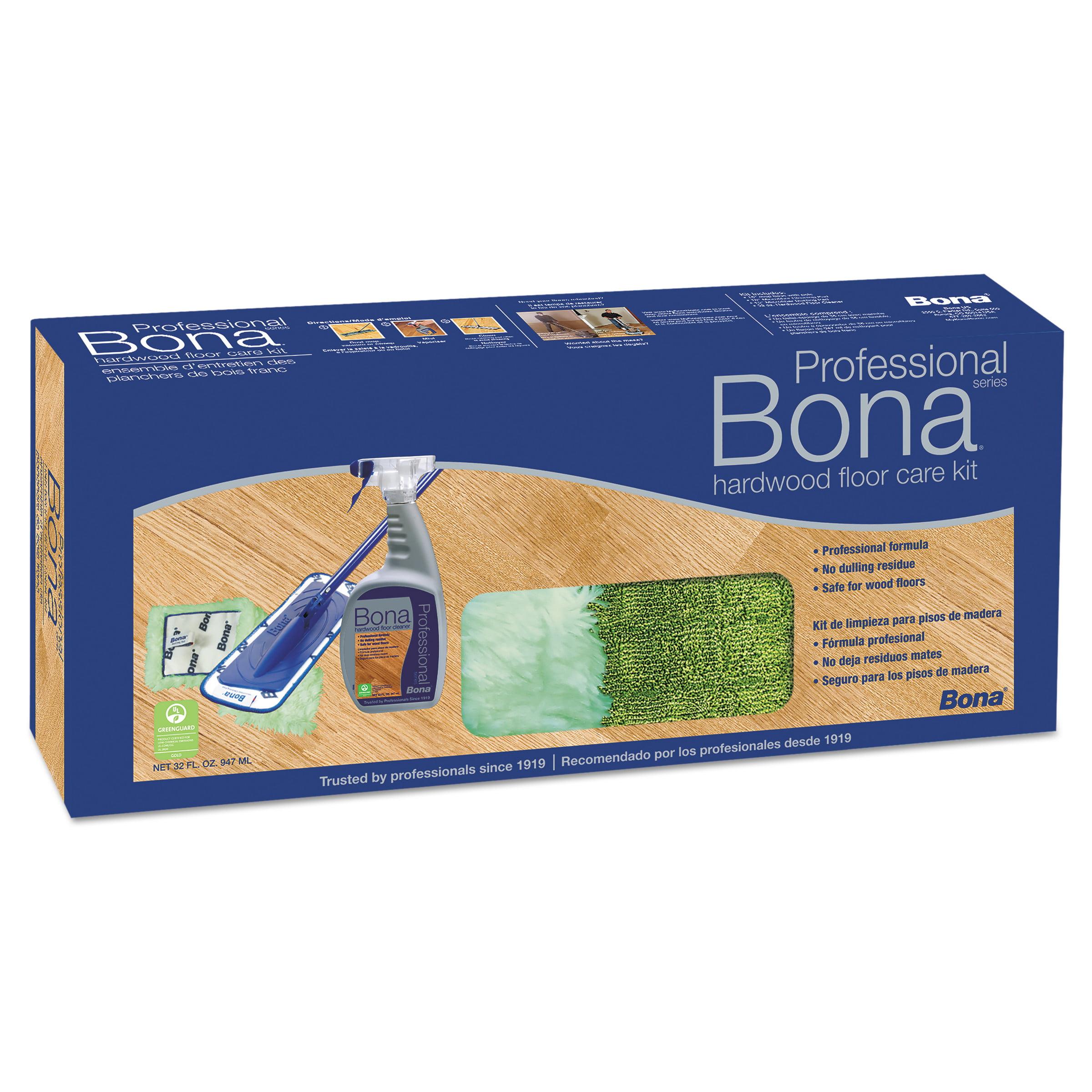 """Bona Hardwood Floor Care Kit, 15"""" Head, 52"""" Handle, Blue"""