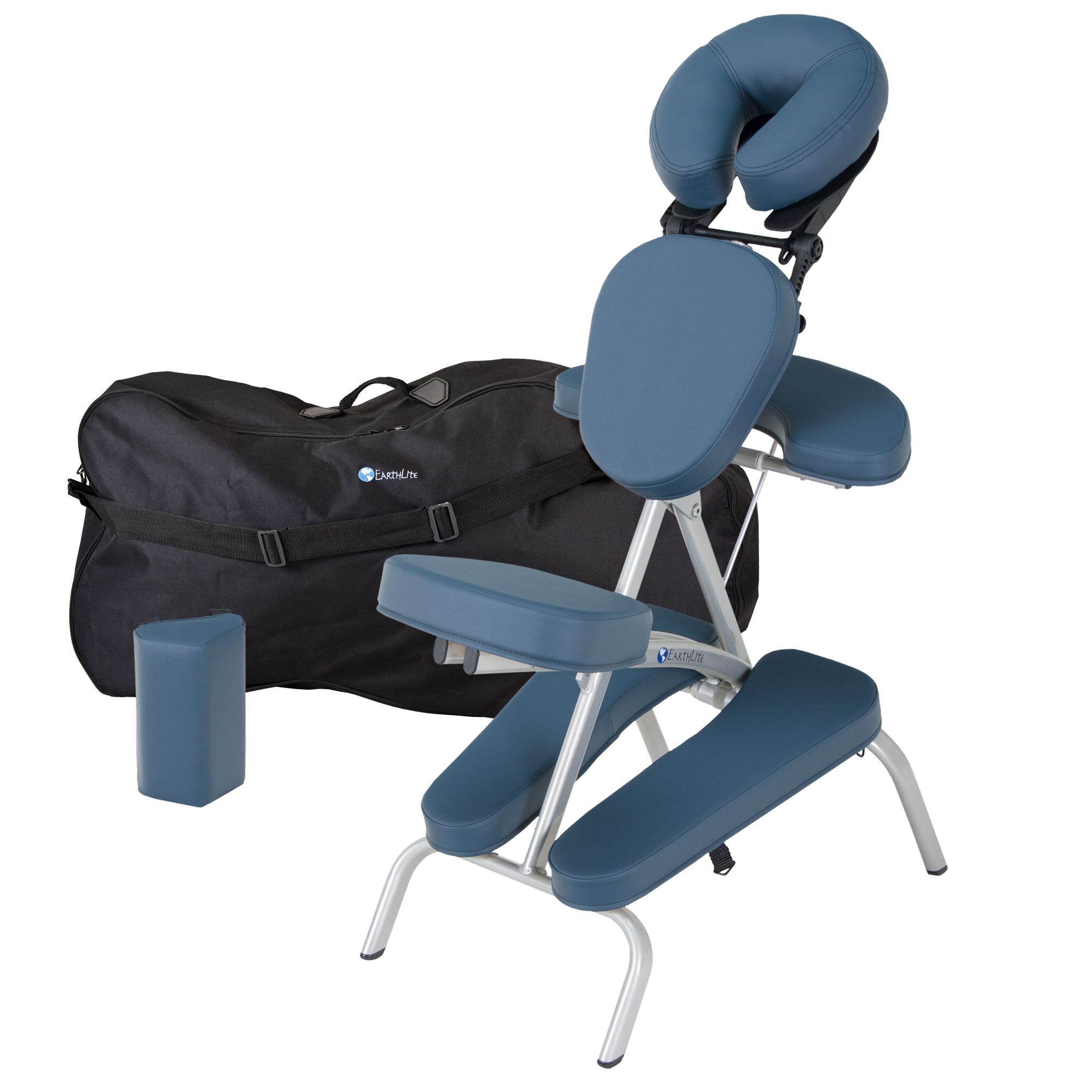 EARTHLITE Vortex Portable Massage Chair Package - Portable, Compact, Strong and Lightweight (15lb) incl. Carry Case, Sternum Pad & Strap