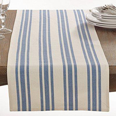 fennco styles cotton dauphine collection striped design table runner - 16 x 72