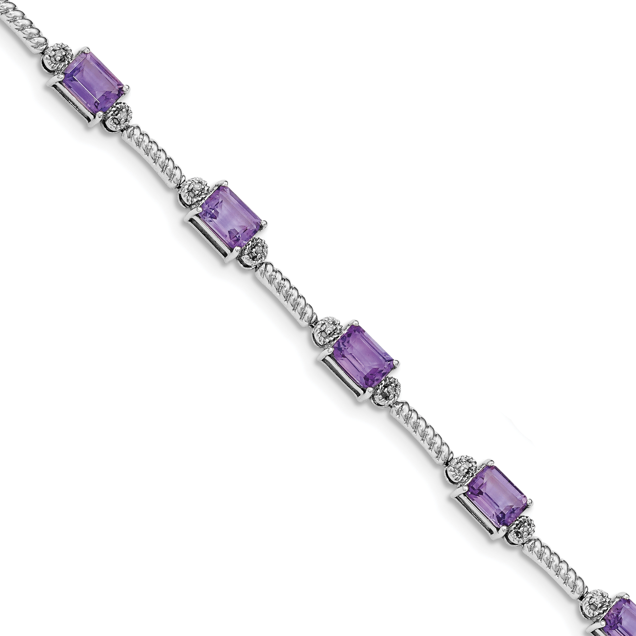 Sterling Silver Rhodium-plated Amethyst & Diamond Tennis Bracelet by Core Silver
