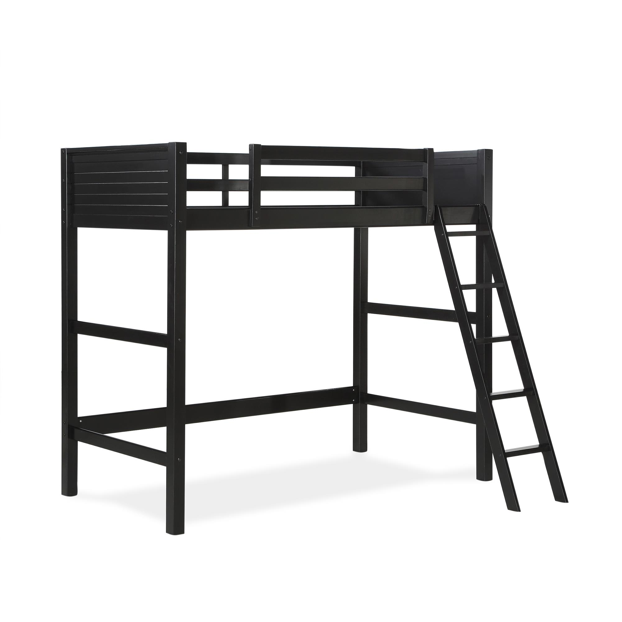 Your Zone Kids Wooden Loft Bed With Ladder Twin Black Walmart Com Walmart Com