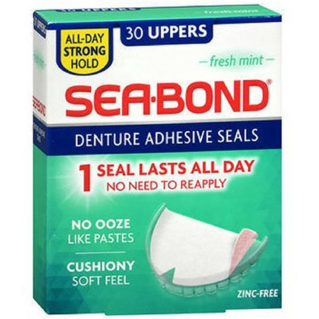 SEA-BOND Denture Adhesive Seals, Fresh Mint 30 Each (Sea Bond Denture)