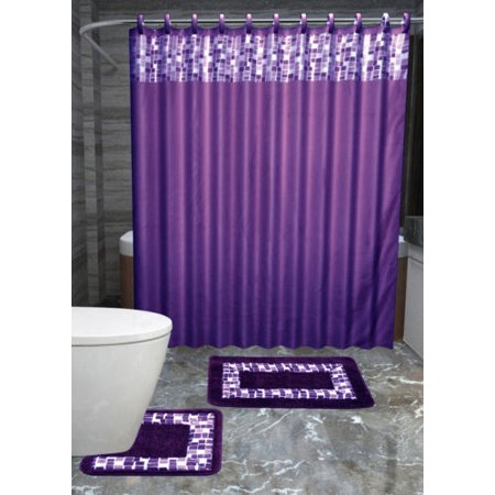 15pc PURPLE MOSAIC Bathroom Set Printed Banded Rubber Backing Rug ...