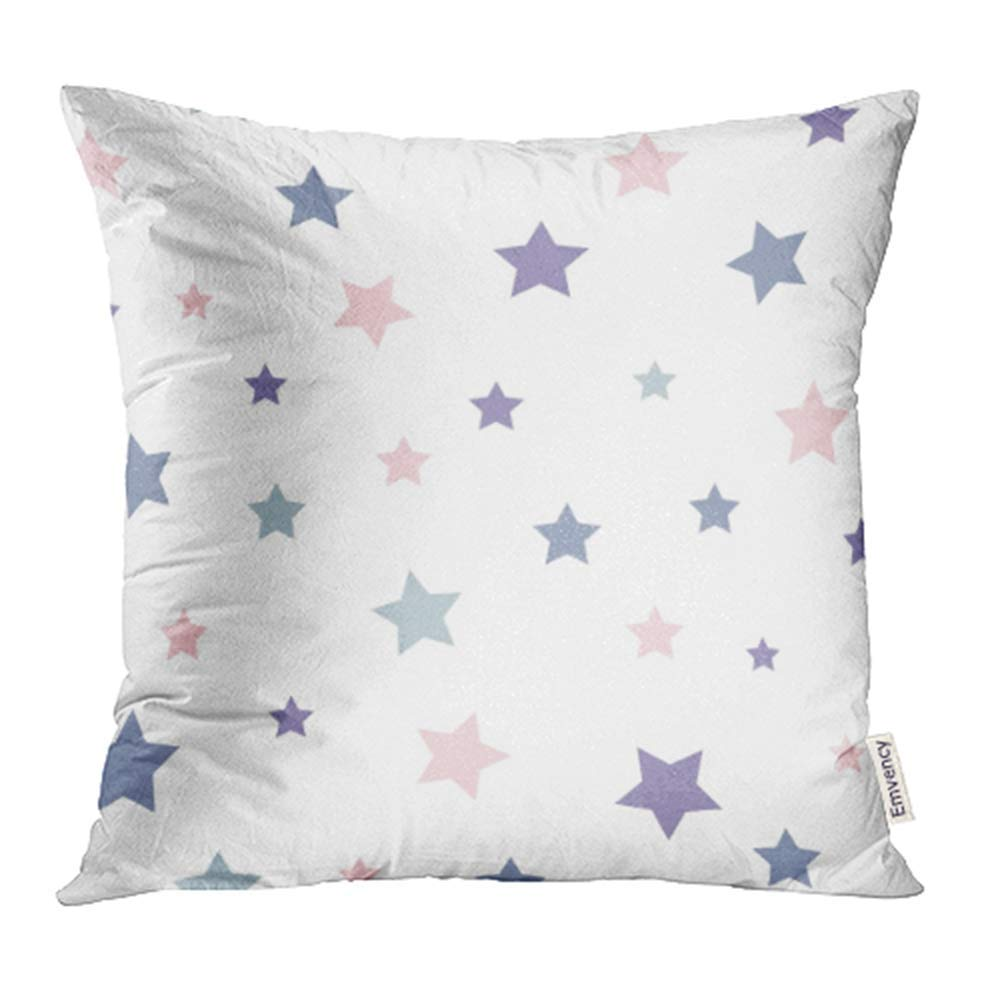 USART Pink Kids Stars Pattern Blue Baby Vintage Abstract Color Cute Graphic Retro Pillowcase Cushion Cases 18x18 inch