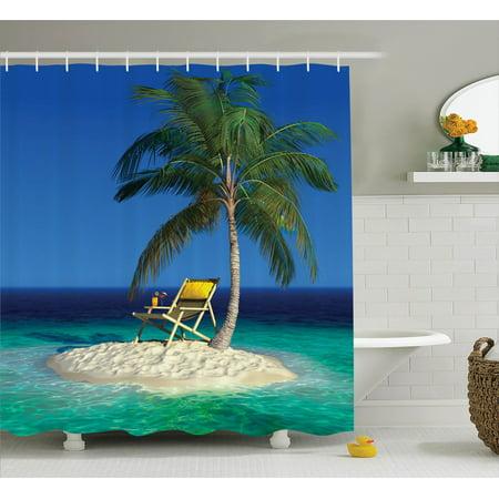 Seaside Decor Shower Curtain Set Chair Under A Palm Tree