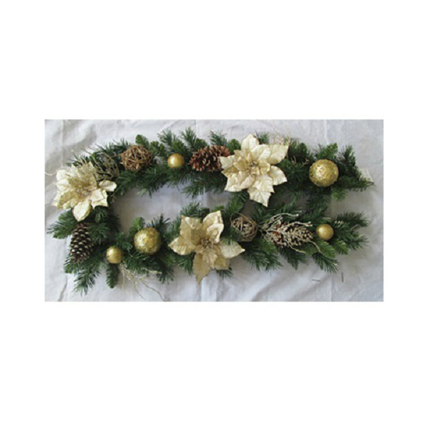Gerson 2240140TV Artificial Pine Garland, Gold Poinsettia, 6-Ft.