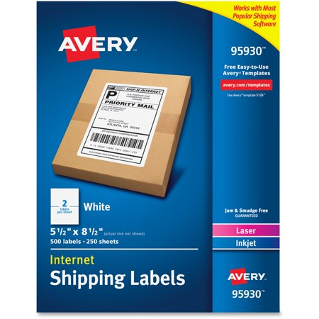 Avery White Shipping Labels, Inkjet/Laser, 5 1/2 x 8 1/2, White, 500/Box