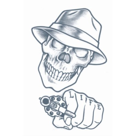 Tinsley Transfers Stick Up Skull Prison Temporary Tattoo FX, Black - Sugar Skull Tatoo