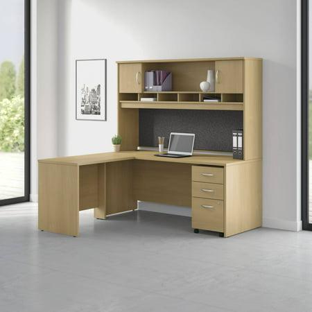 Pro Office L Shaped Desk with Hutch, 3 Drawer Mobile Pedestal in Oak (Oak Hutch)