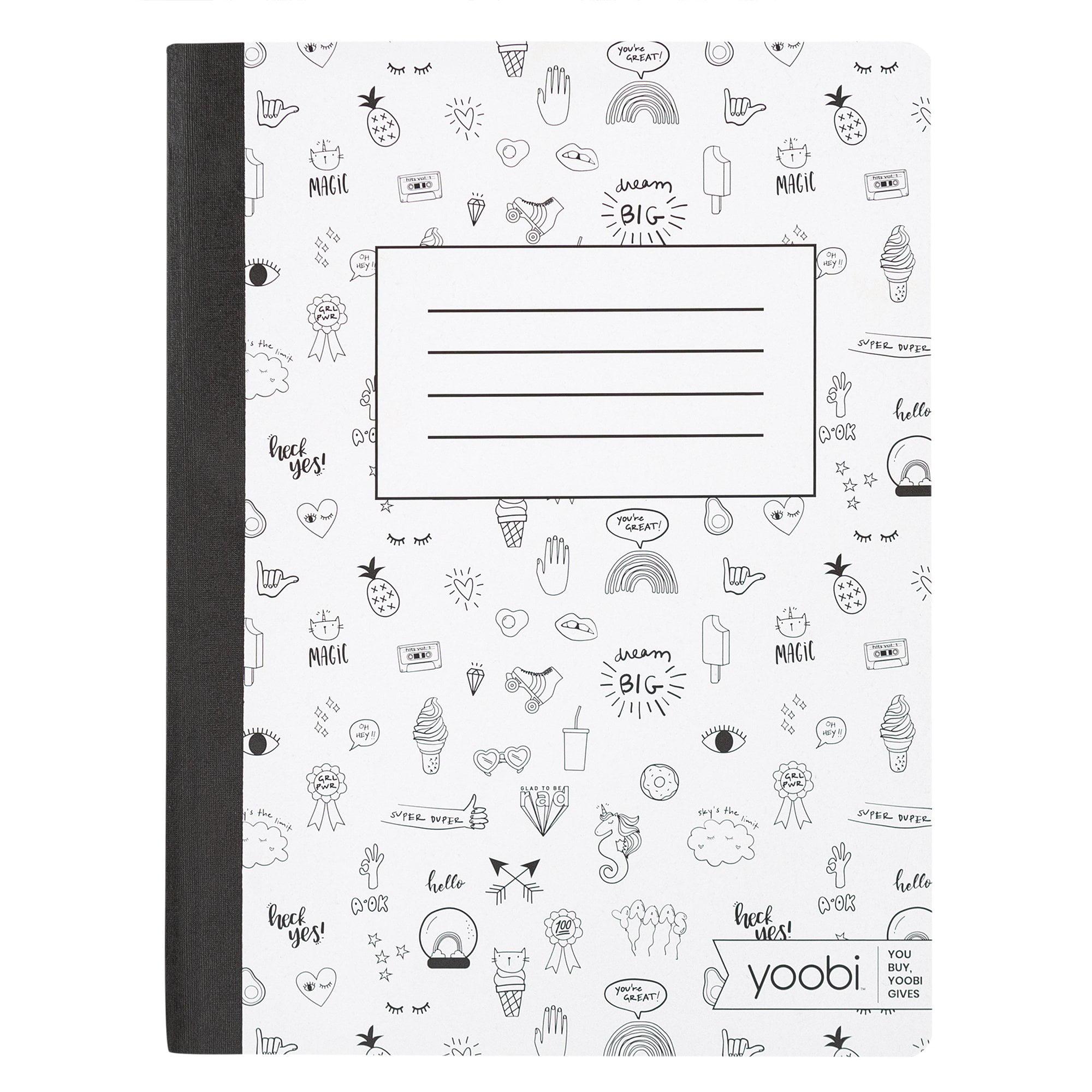 Yoobi White Mini Doodle College Ruled Composition Book Walmart Com Walmart Com