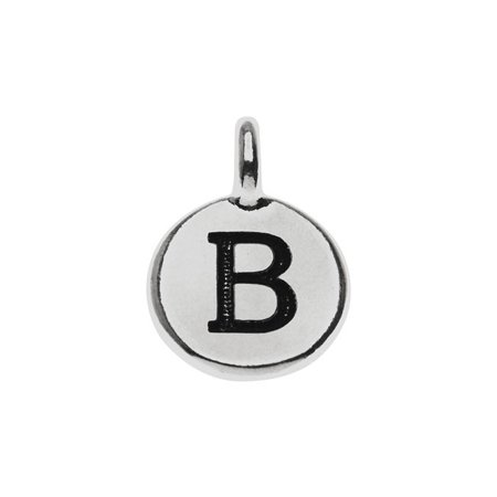 Alphabet Charm, Uppercase Letter 'B' 16.5x11.5mm, 1 Piece, Antiqued Silver - Alphabet Charms