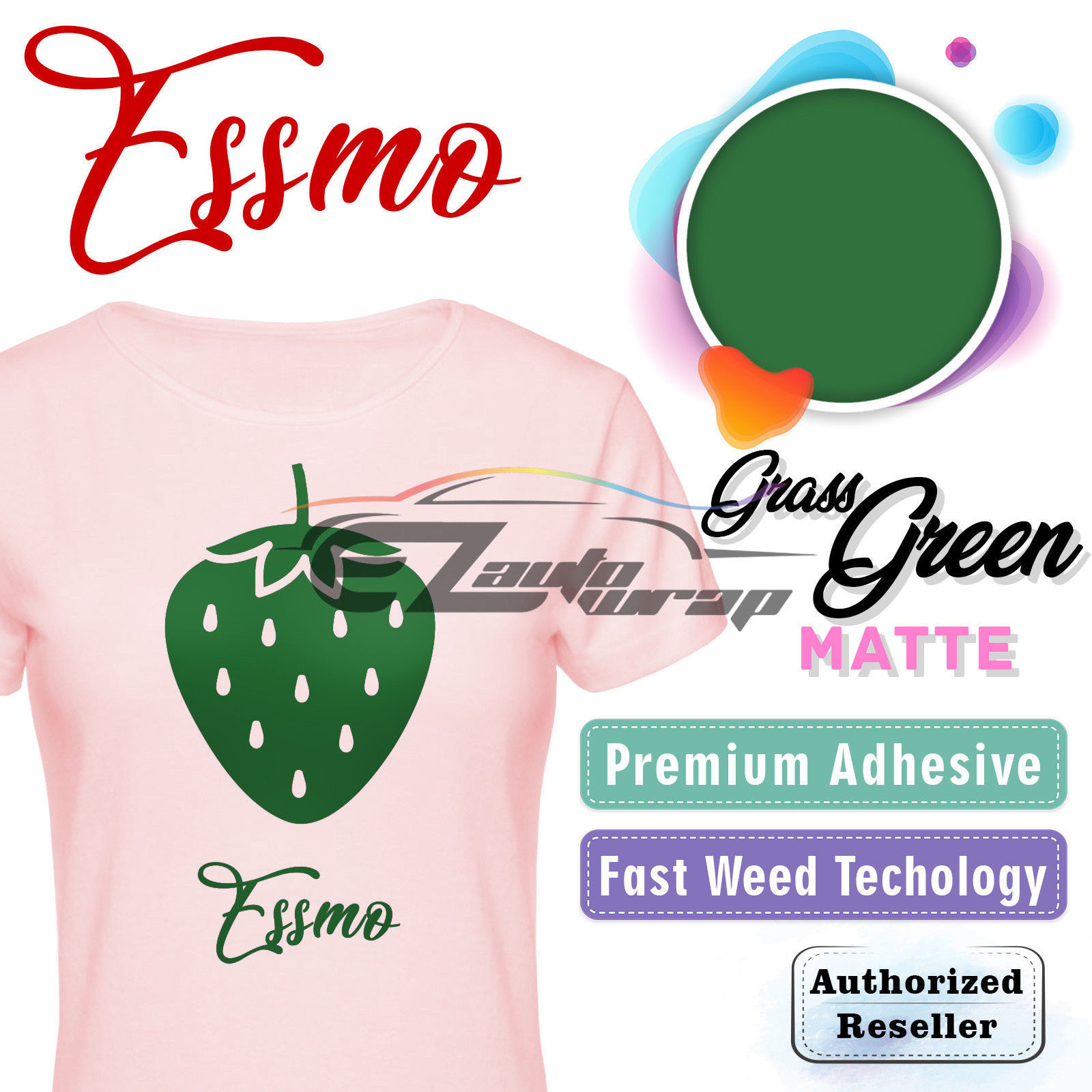"ESSMO Grass Green Blue Matte Solid Heat Transfer Vinyl HTV Sheet T-Shirt 20"" Wide Iron On Heat Press 20""x12"""