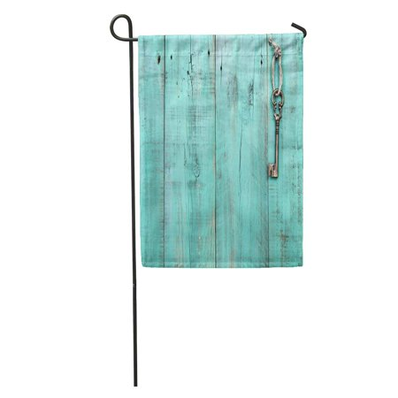SIDONKU Bronze Skeleton House Key Hanging by Rope on Blank Antique Garden Flag Decorative Flag House Banner 12x18 inch
