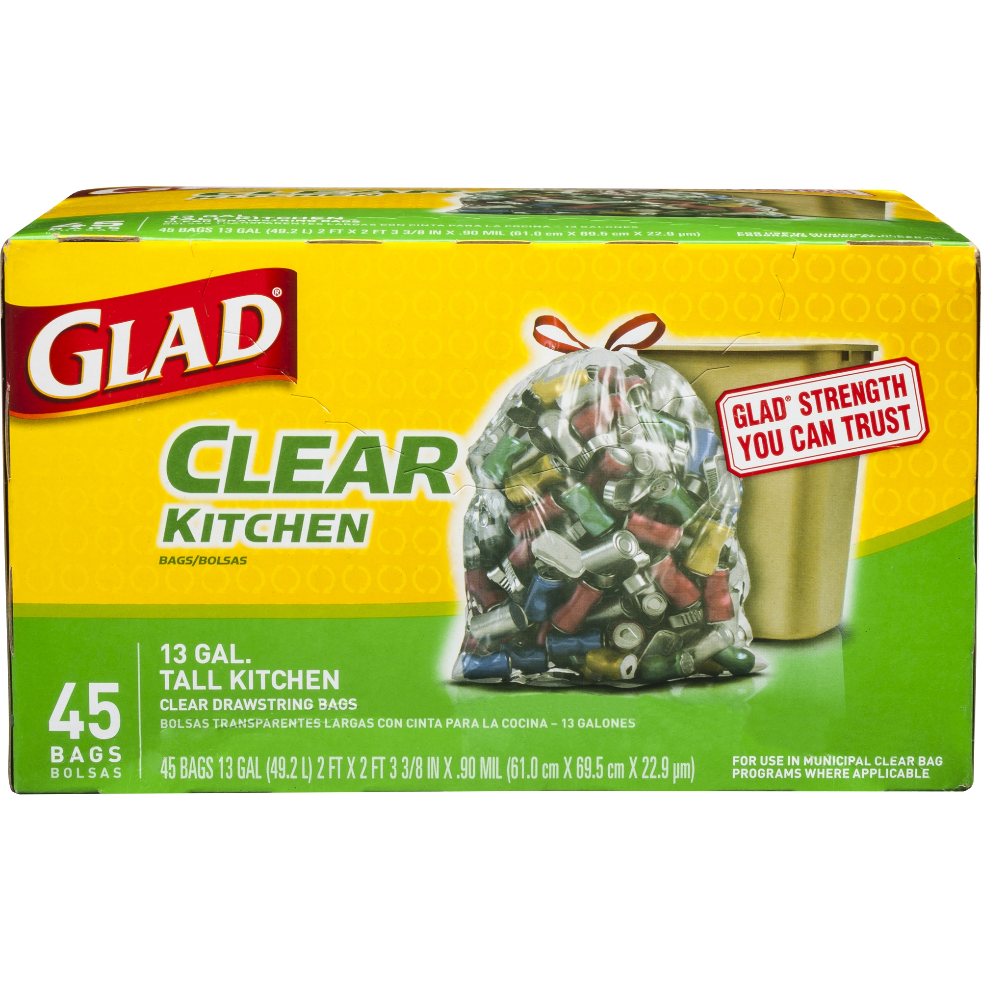 Glad Recycling Tall Drawstring Kitchen Clear Trash Bags - 13 gal - 45 ct