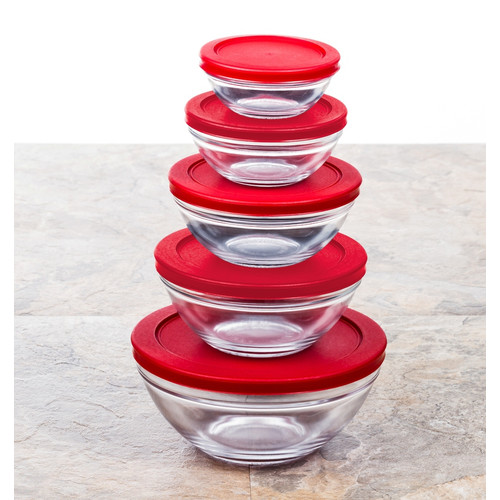 Multi-purpose Glass Food Storage Containers w/ Red Snap Tight Lids