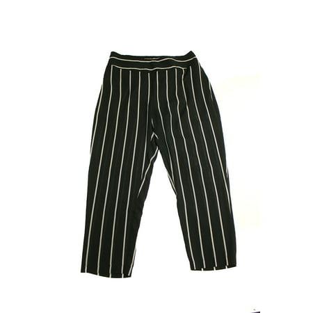 Soft Crop - Bar Iii Black Striped Pull-On Cropped Soft Pants L