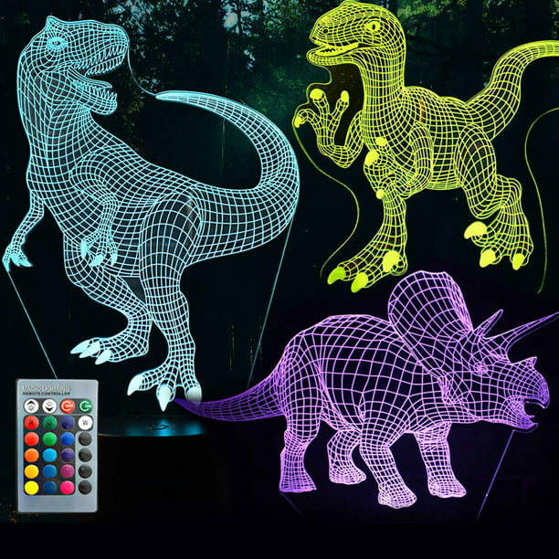 3D Dinosaur Night Light, 3D Illusion Lamp Three Pattern and 7 Color Change Decor Lamp with Remote Control for Living Bed Room Bar, Best Gift Toys for Boys Girls (Three dinosaurs)