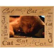 Giftworks Plus PET0073 Cat - Repeating, Alder Wood Frame, 5 x 7 In