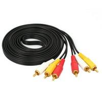 Triple 3 Male RCA Composite Audio Video DVD TV AV Cable 2.75M Length