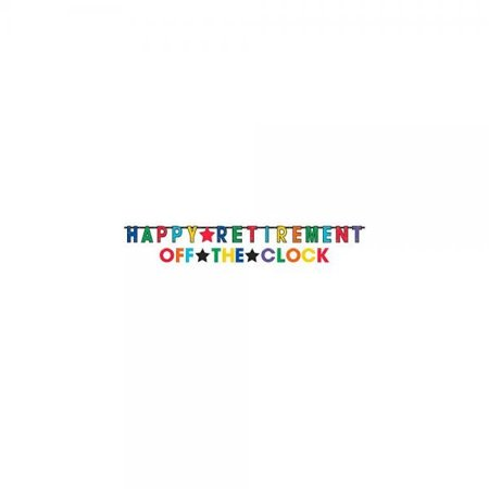 Amscan Fun-Filled Retirement Party Happy Retirement and Off The Clock! Jumbo Letter Banner Decoration, Paper, 12' x - Retirement Party Banners