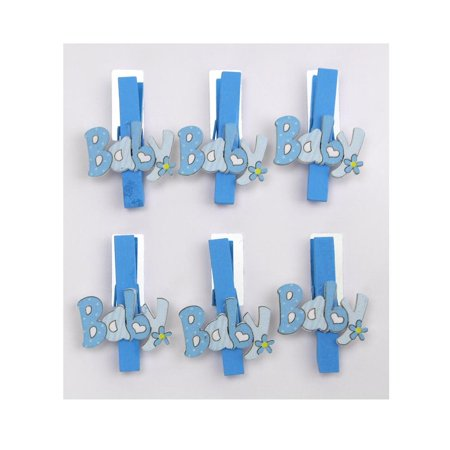 Floral Baby Wooden Clothespins Favors, 2-Inch, 6-Piece, Blue