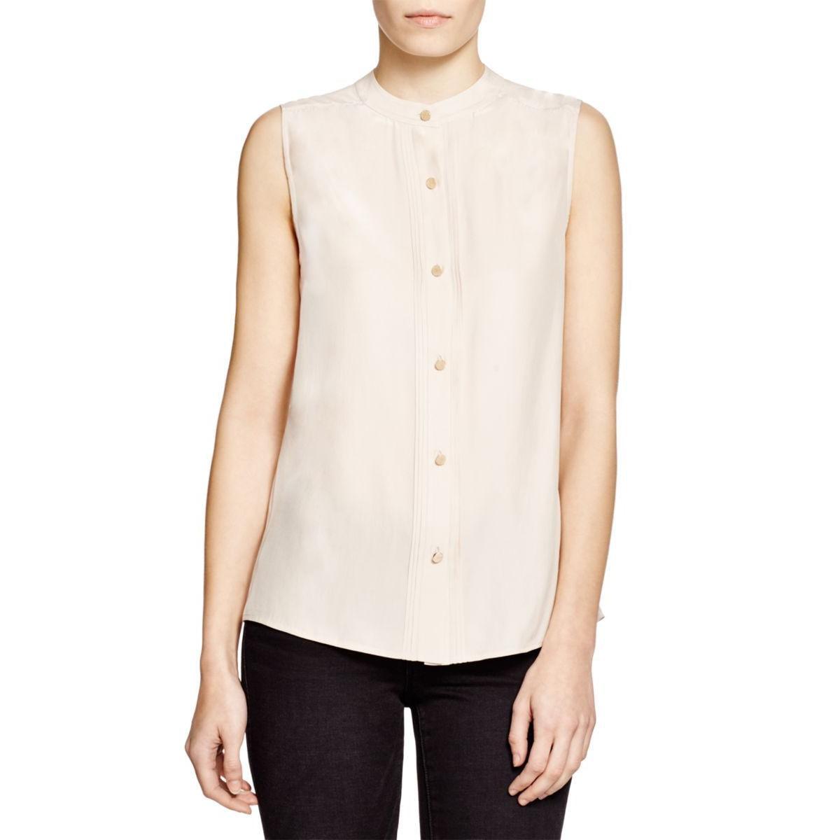 Frame Shirt Womens Silk Pintuck Tank Top