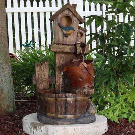 - Sunnydaze Bluebird House and Buckets Outdoor Garden Water Fountain, 26 Inch Tall