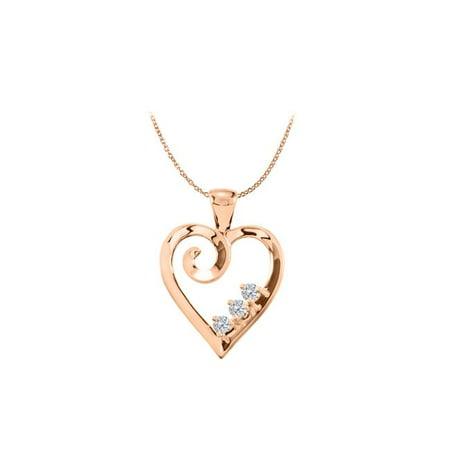 14K Rose Gold Vermeil 3 Stone CZ Family Heart -