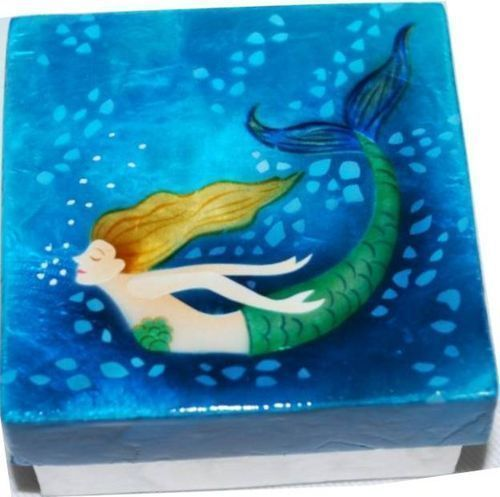 Kubla Crafts Capiz Shell Mermaid Swim Blue Trinket Jewelry Gift Change Box
