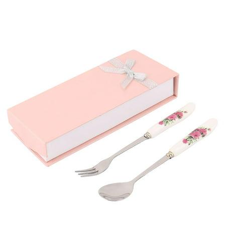 School Travel Camping Flower Printed Ceramic Handle Spoon Fork Cutlery Set