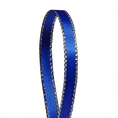 Royal Blue Solid Color 3/8-Inch Silver Edge Ribbon, 50-Yards