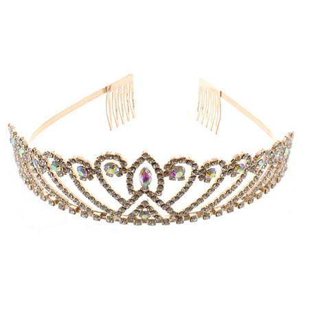 Fashion Jewelry Gold Plating Aurora Borealis Rhinestone Wedding Tiara Aurora Deluxe Tiara