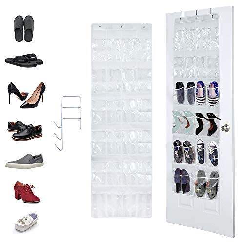Complete with 4 Strong and Durable Over-the-Door Hooks Mainstays Nonwoven 24-Pocket Over-the-Door Shoe Organizer Perfect Kitchen Utensil or Baby Room Organizer Storage for Women Men and Children