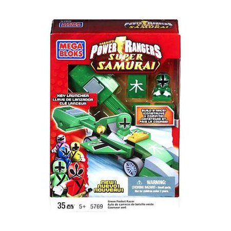 Mega Bloks Power Rangers Super Samirai Green Rocket Race Car Building Set (Rocket Power New Squid On The Block)