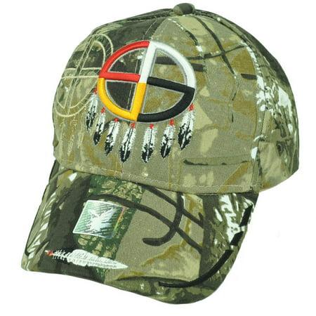 Native American Pride Medicine Wheel Dream Catcher Camouflage Hat Cap - Pimp Hat With Feather