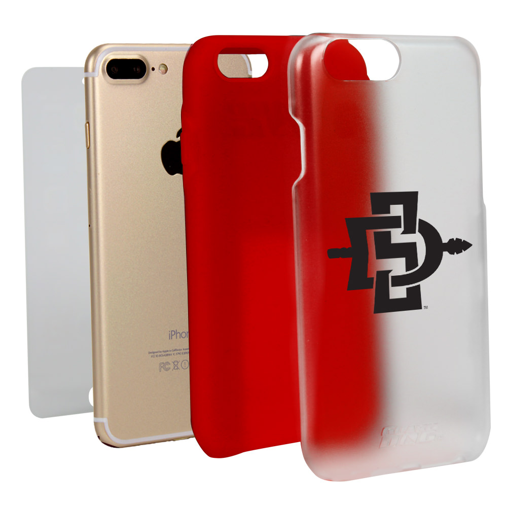 San Diego State Aztecs Clear Hybrid Case for iPhone 7 Plus/8 Plus with Guard Glass Screen Protector NCAA