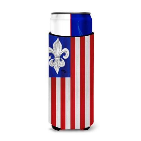 Patriotic Fleur de lis Ultra Beverage Insulators for slim cans 8138MUK