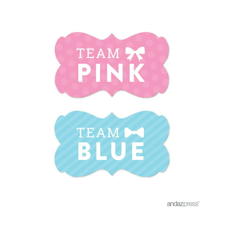 Team Pink/Blue Gender Reveal Baby Shower Fancy Frame Favor Labels, - Gender Reveal Stickers