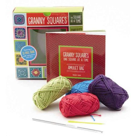 Granny Squares, One Square at a Time Amulet Bag: Creative Craft Kit, Includes Hook and Yarn for Making Two Amulet Bag Necklaces