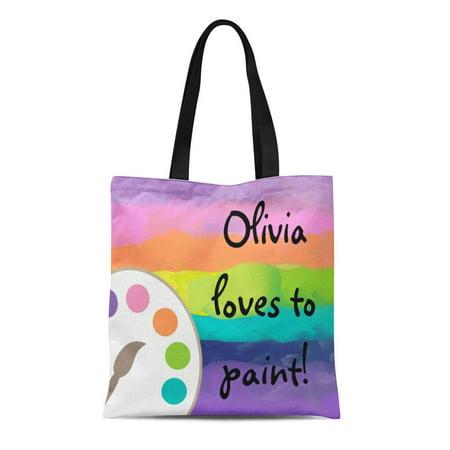 - LADDKE Canvas Tote Bag Paint Palette Artist Smock Brush Painting Crafts Painters Reusable Handbag Shoulder Grocery Shopping Bags