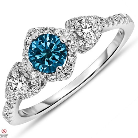 Blue Diamond Center (Natural 7/8CT Blue Diamond Center 3 Stone Engagement Ring 14k SOLID White)