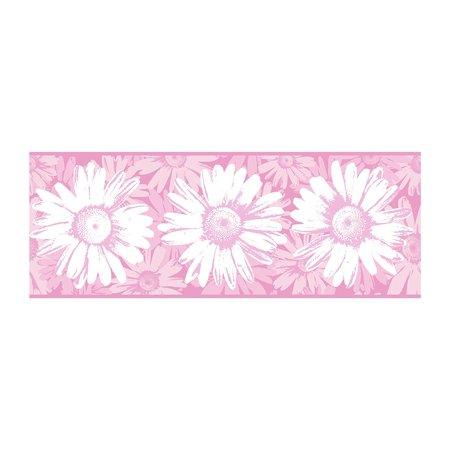 York Wallcoverings BT2730B Daisy Wallpaper Border, Pink White