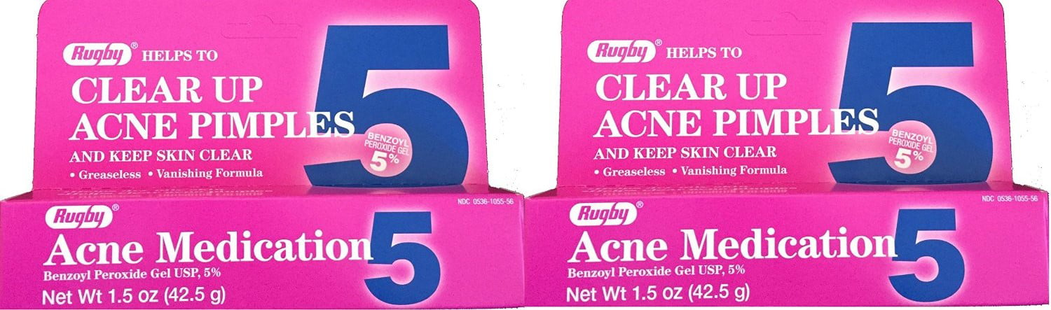 Rugby Benzoyl Peroxide Gel 5 Acne Medication 1 5 Oz Walmart Com Walmart Com