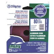 Blue Dolphin Resin Fiber Sanding Discs, 5 In. X 7/8 In. Hole, 80 Grit, 25 Pack