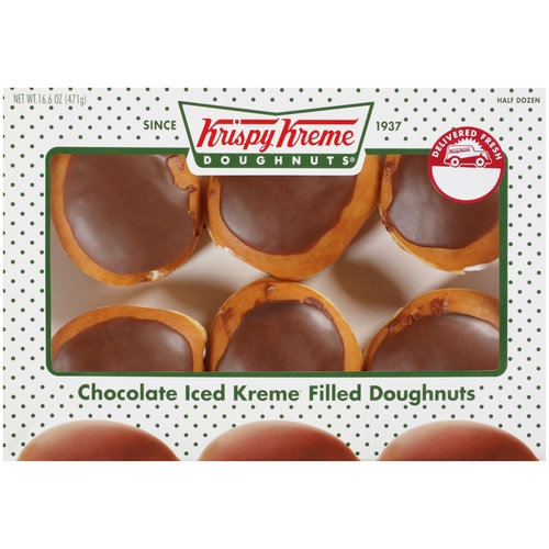 Krispy Kreme Doughnuts Chocolate Iced Kreme Filled Doughnuts, 6ct
