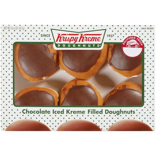 Krispy Kreme Doughnuts Chocolate Iced Kreme Filled Doughnuts, 6ct