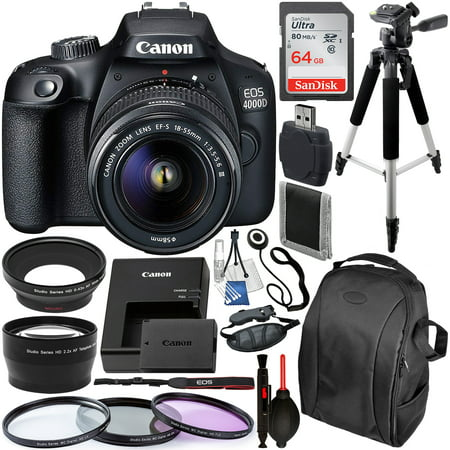 Canon EOS 4000D / Rebel T100 DSLR Camera with 18-55mm III Lens and Essential Accessory Bundle - Includes SanDisk Ultra 64GB SDXC Memory Card & 3PC Multi-Coated Filter Set & MORE