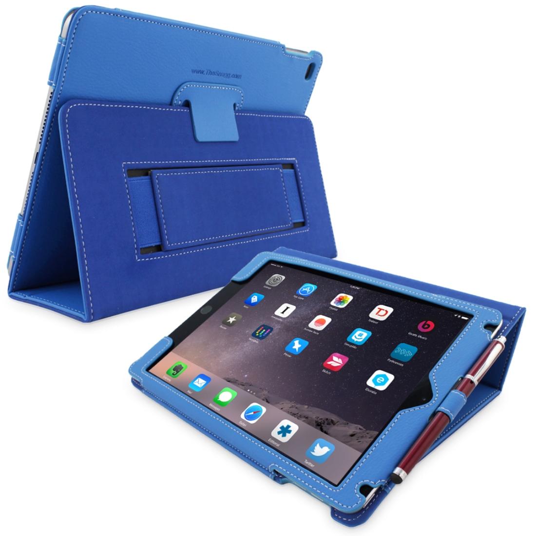 Snugg B00Q2YGFDO iPad Air 2 Card Slot Executive Case, Electric Blue Leather
