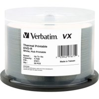 Verbatim DVD-R 4.7GB 16X VX White Thermal Printable - 50pk Spindle