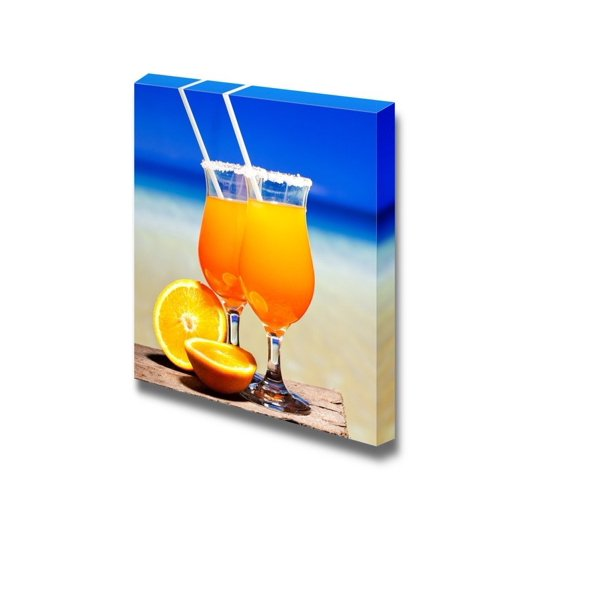 Canvas Prints Wall Art Still Life Tequila Sunrise Cocktail On Wooden Planks Modern Wall Decor
